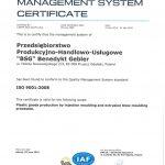 Certyfikat ISO po angielsku 2015-2018